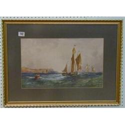 "Richard Short, 19th Century watercolour drawing ""Two Yachts Off Shore"" 11"" x 17"" £150-200..."