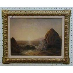 "19th Century oil painting on board ""Sea Scape"" 11"" x 15"" £50-75..."