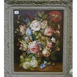 "G A Pumfrey, oil painting on canvas still life study ""Vase of Flowers"" 19"" x 15"" £200-300..."