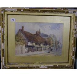 "S V Fuidge, watercolour drawing ""Street Scene with Buildings and Figures"" signed and dated 1881 1..."