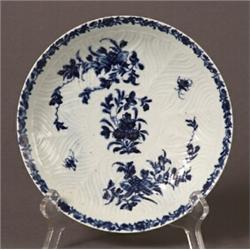 18th century english hand-painted blue and white porcelain plate…