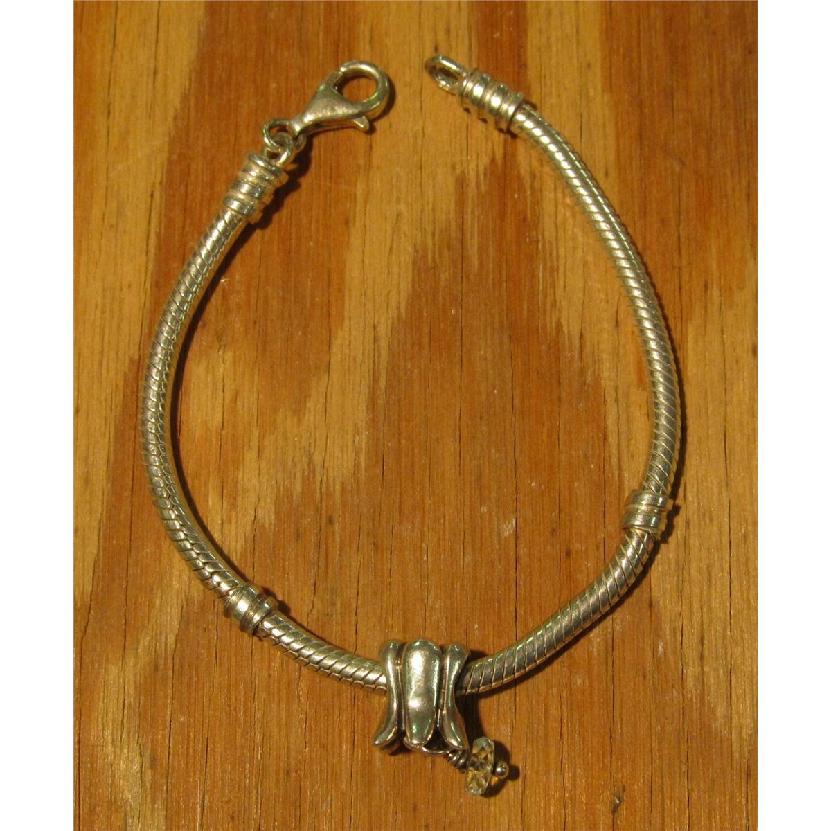 6 Pandora Bracelet Modified With A Lobster Clasp Comes One 790248aq Aquamarine T