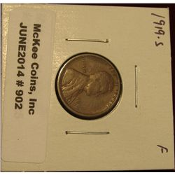 902. 1919 S Lincoln Cent - Wheat F-12.