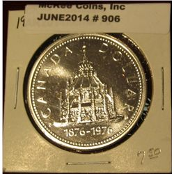 "906. 1876-1976 Library Of Parliament Canada Silver Prooflike Dollar. In 2"" X2""."