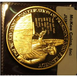 907. John F. Kennedy 1917-1963 Life & Legacy Inauguration Speech Gold-plated Commemorative Medal