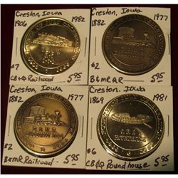 958. (2) 1977, 1981, & 1982 Creston, Iowa Railroad Medals. All Gem BU. Priced to sell at $23.80.