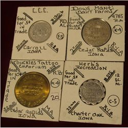 960. (2) Different Good for tokens from Cedar Rapids, Iowa; a Charter Oak, Ia. Good for token; and a