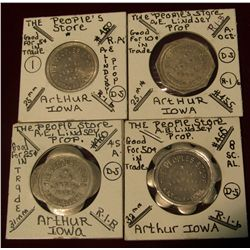 "967. 4-piece Set of Token from Arthur, Iowa. ""The People's Store"" Good for 5c, 10c, 25c, & 50c."