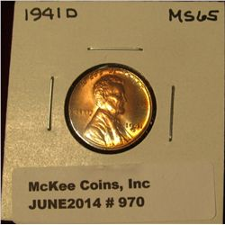 970. 1941 D Lincoln Cent. Brilliant MS 65.