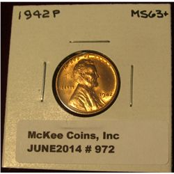 972. 1942 P Lincoln Cent. Brilliant MS 63.