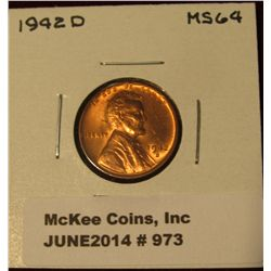 973. 1942 D Lincoln Cent. Brilliant MS 64.