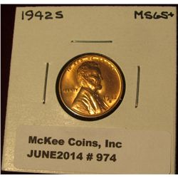 974. 1942 S Lincoln Cent. Brilliant MS 65+.