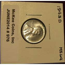 976. 1943 D Lincoln Cent. Brilliant MS 64.