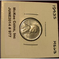 977. 1943 S Lincoln Cent. Brilliant MS 63.