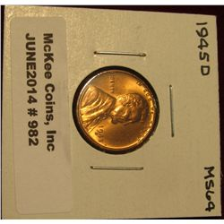 982. 1945 D Lincoln Cent. Brilliant MS 64.