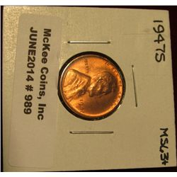 989. 1947 S Lincoln Cent. Brilliant MS 63+.