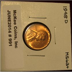 991. 1948 D Lincoln Cent. Brilliant MS 63+.