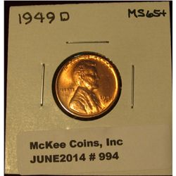 994. 1949 D Lincoln Cent. Brilliant MS 65+.