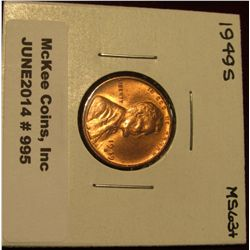 995. 1949 S Lincoln Cent. Brilliant MS 63+.