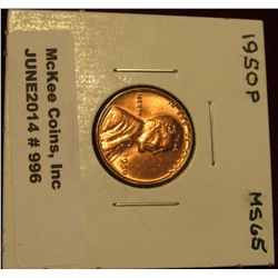 996. 1950 P Lincoln Cent. Brilliant MS 65.