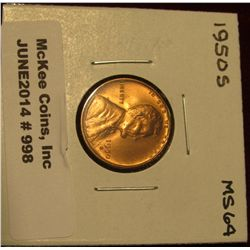 998. 1950 S Lincoln Cent. Brilliant MS 64.