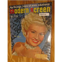 "1069. 1950 Dell ""Modern Screen"" Magazine. ""The Strange Fears of Ava Gardner"", ""Betty Grable"", and mo"