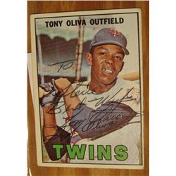 1086. 1967 Topps Baseball Card no. 50. Autographed by Tony Oliva Outfield Minnesota Twins. Good cond