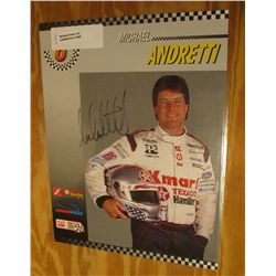 "1090. 8.5"" x 11"" Color Poster of Michael Andretti with original Autograph."