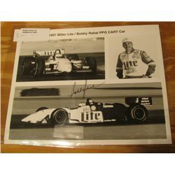 "1091. 1997 Miller Lite/Bobby Rahal PPG CART Car personally Autographed. 8"" x 10"" Black and White Pro"