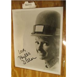 "1102. ""Love, Phyllis Diller"" Autographed Black & White Photo 8 1/8"" x 10 1/8""."