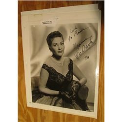 "1103. ""Luck to Anne Yvonne De Carlo"" Autographed. 8"" x 10"" Black & White."