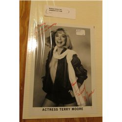 "1108. Autographed Black and White Photo ""Actress Terry Moore""."