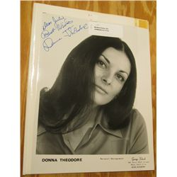 "1113 Autographed Black and White Photo ""Donna Theodore"". 8"" x 10""."