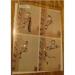 1118. Two autographed pages from Playboy? Magazine each depicting four photos of Sharon Stone and au