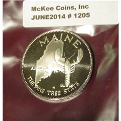 1205. Maine, 32mm, Sterling Silver Proof.