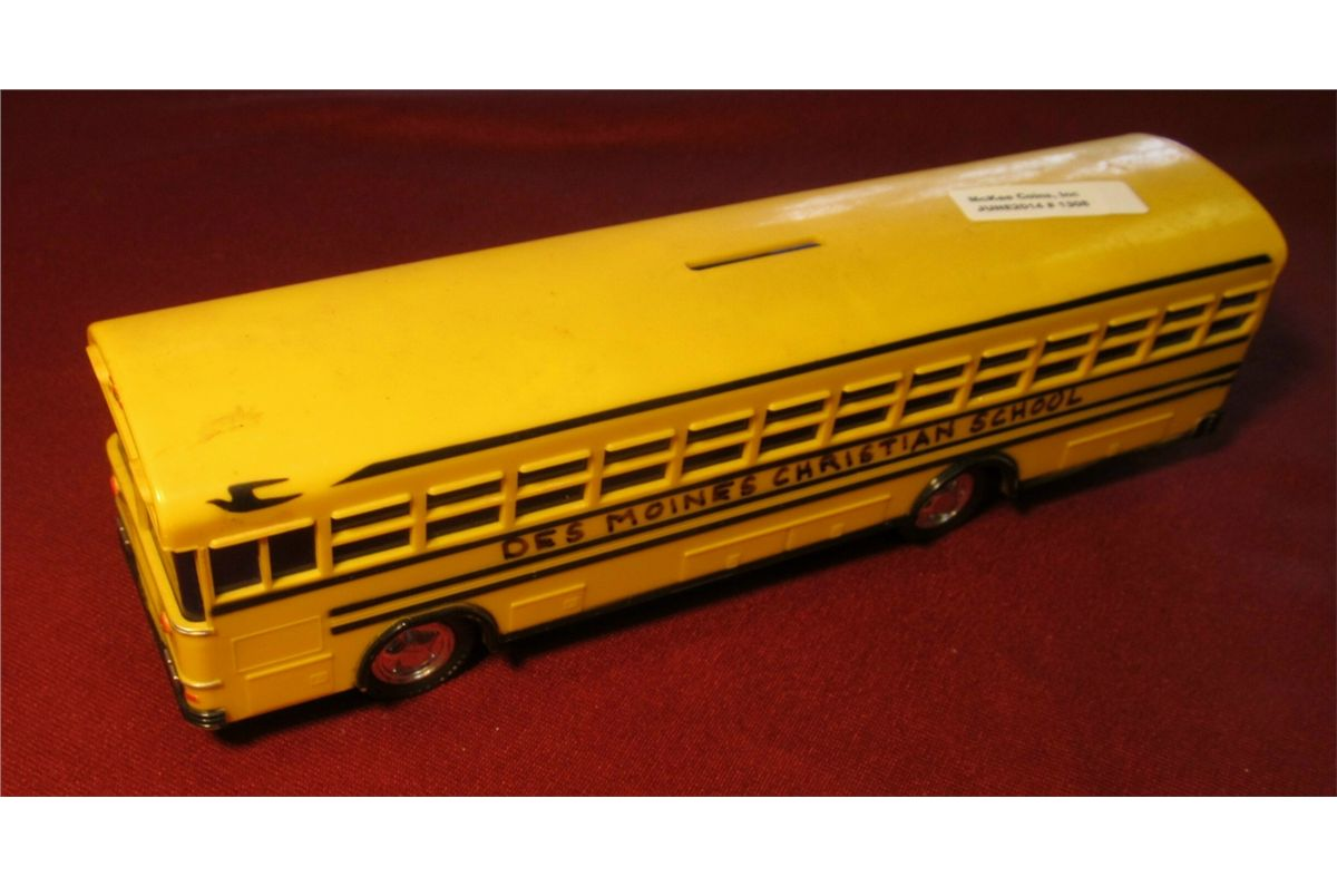1308 Blue Bird School Bus Bank With Hand Written Lettering Des
