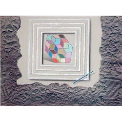 Luis Mazorra  Reflections, Signed Etching with Collage
