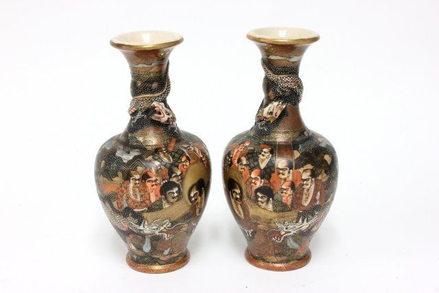 Pair Satsuma 1000 Faces Vases