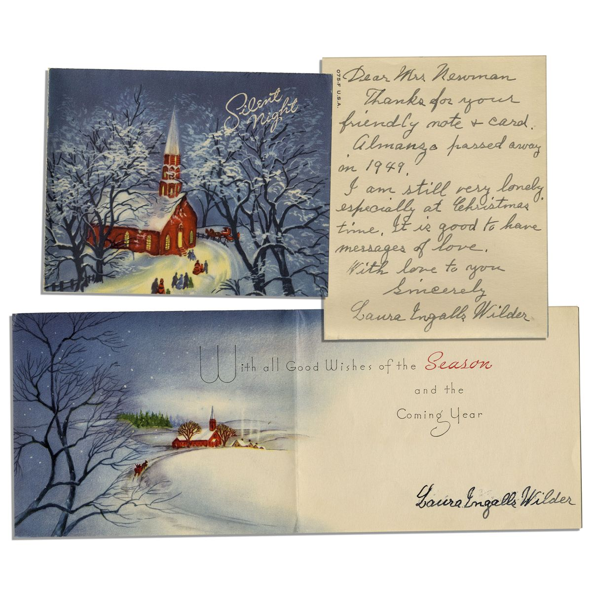 Laura Ingalls Wilder Autograph Letter Signed Upon a Signed Christmas ...