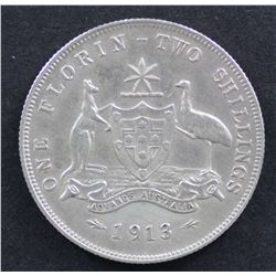 1913 Florin Extremely Fine or a little better