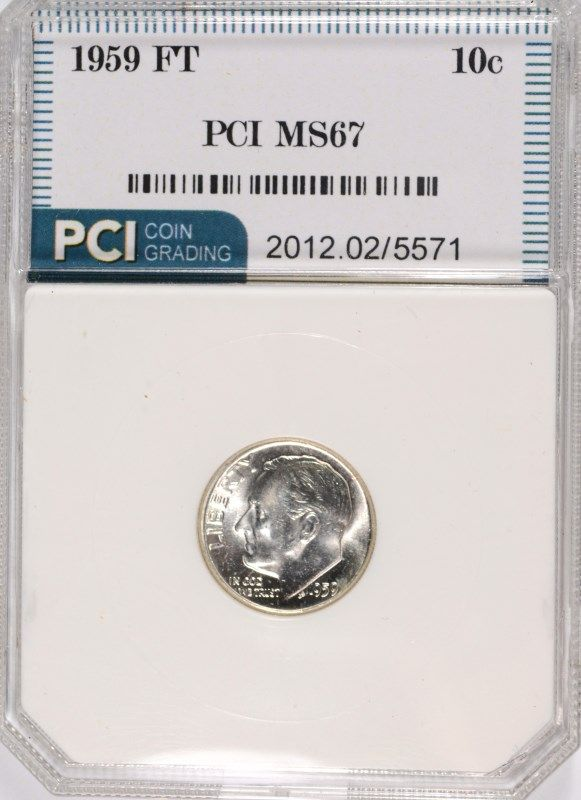 Image 1 1959 ROOSEVELT DIME PCI MS 67 FULL TORCH RARE