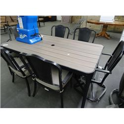 Aluminum Table w/Plank Top & 6 Chairs - Priced $1499 - Scratches - Plank Warped
