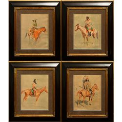 Frederic Remington, four chromolithographs