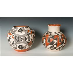 Two Acoma Pots, Rachel Aragon and Ruby Shroulote