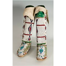 Northern Plains Beaded Moccasins and Leggings