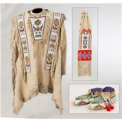 Sioux War Shirt, Moccasins and Pipebag made by Victoria Standing Bear-Conroy