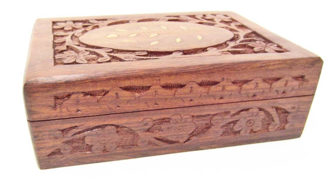 CARVED WOODEN JEWELRY BOX W ABALONE SHELL INLAY