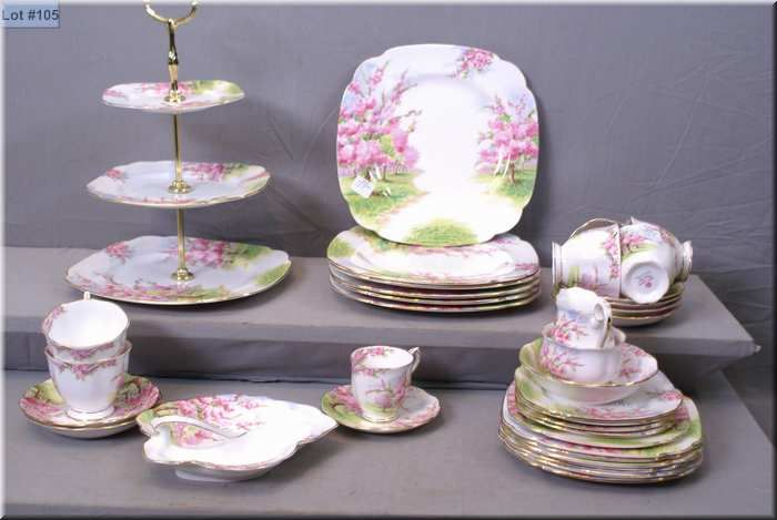 Image 1  Royal Albert  Blossom Time  china including three tiered cake plate & Royal Albert