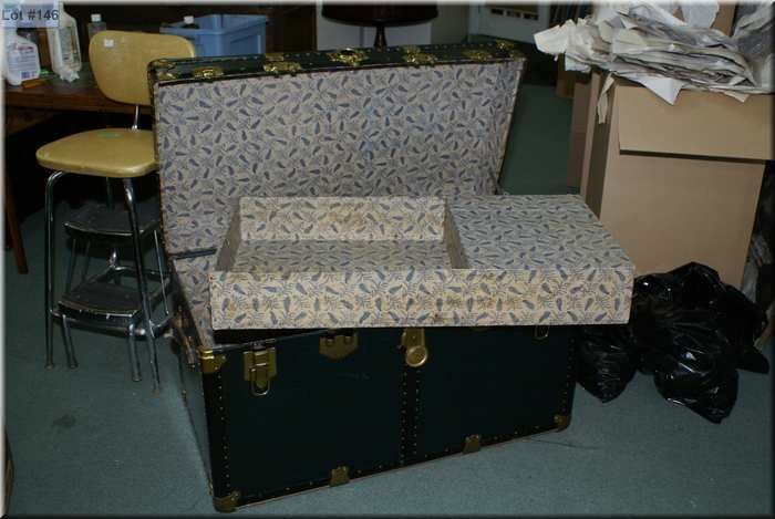Vintage steamer trunk with brass and metal bindings and fitted ...