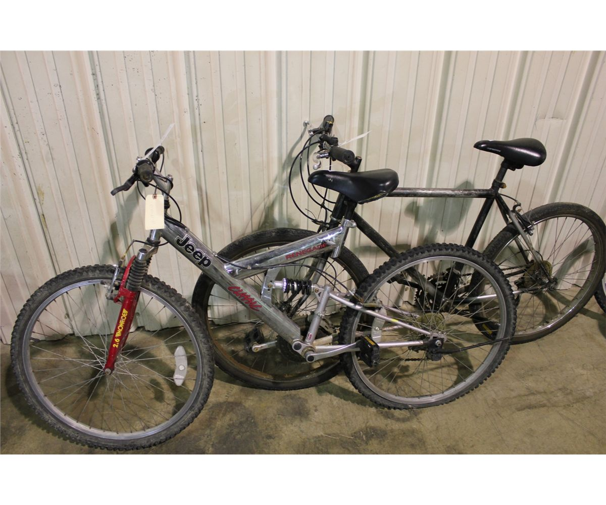 Silver Jeep Renegade 18 Speed Full Suspension Mountain Bike And